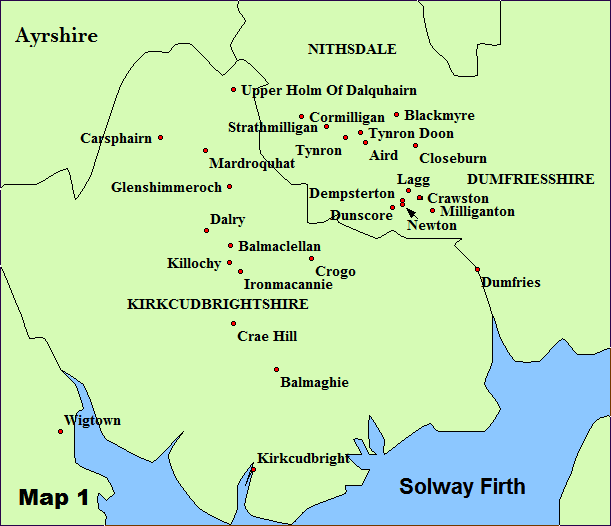 Image result for map of Kirkcudbrightshire, Scotland